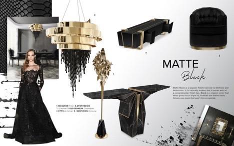 Interior Design Trends Paris Matte Black on furniture, lighting, wallcovering and fashion.